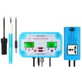 3 in 1 pH/EC/TEMP Water Quality Detector Professional pH Controller with Relay Plug Repleaceable Electrode BNC Type Probe Water Quality Tester for Aquarium Hydroponics Tank Monitor 14.00pH 1999us/cm 19.99ms/cm