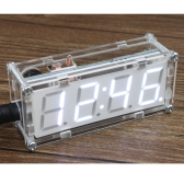4-stellige DIY LED elektronische Clock Kit Microcontroller 0,8 Zoll Digital Tube Clock mit Thermometer Hourly Chime Funktion DIY Kit-Module