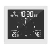 Thermohygrometer Clock Digital Alarm Clock Indoor Thermometer Hygrometer Clock with Dual Snooze Alarm Function Desktop & Wall-mounted USB & Battery Operated