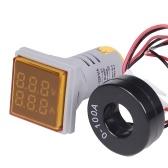 Mini carré LED Voltmètre Numérique Ampèremètre Signal Lumière Tension Indicateur de Courant AC 60-500V 0-100A