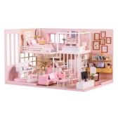 Montar diy casa de boneca brinquedo de madeira miniatura kit