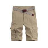 Los nuevos hombres forman los cortocircuitos Bermudas sólido ocasional Multi-bolsillo del ejército del estilo militar Pantalones cortos de carga sin cinturón