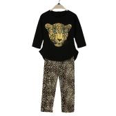 Novas garotas de moda vestuário de moda t-shirt Leggings leopardo cabeça impressão redondo pescoço longo manga bonito terno