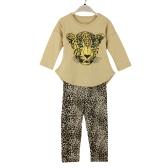 Nowi Moda Dziewczyny Zestawy odzieżowe T-shirty Legginsy Leopard Head Print Runda Neck Long Sleeve Cute Suit