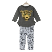 New Fashion Girls Clothing Sets T-shirt Leggings Leopard Head Print Round Neck Long Sleeve Cute Suit