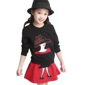 Słodka postać Patchwork Bluza z długim rękawem Spódnica Mini Girls Twinset