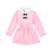 Милый ребенок девочки платье водолазку кружево лук узел упругие талии Keyhole кнопку обратно принцесса платье желтый/Розовый/Роуз