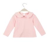Novo bebê fofo menina t-shirt Peter Pan Collar Keyhole botão manga longa volta doce Top branco/rosa