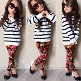 New Girls Kids T-Shirt Top Spodnie Pasy Paski Floral Print O Kość Szpulki Elastyczne Spodnie Codzienne Spodnie Dziecięce Dwuczęściowe Zestaw White