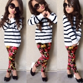 New Girls Kids T-Shirt Top Trousers Pants Stripes Floral Print O Neck Elastic Waistband Cute Casual Children Two-Piece Set White