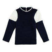 Neue Girls Kids Bluse Splice Perle Button Langarm Warm lässig Kinder Pullover Top Sweatshirt White/Pink/dunkel blau