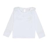 Niños lindos dulce bebé niña algodón camiseta cuello Peter Pan Color sólido manga larga Casual Tee Tops blanco/rosa/amarillo