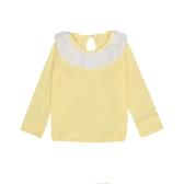 Crianças adoráveis doces bebê menina algodão t-shirt Peter Pan Collar cor sólida mangas compridas Tee Casual Tops branco/Rosa/amarelo