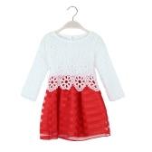 Neue Kinder Mädchen Kleid Crochet Lace O Hals Langarm gestreifter Tüll Kinder süße Prinzessin Tutu Kleid lila/rot/Rose