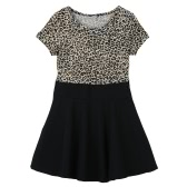 Moda niños lindos chica vestido leopardo ronda cuello manga corta Mini vestido plisado negro