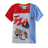Nova moda filhos meninos t-shirt carros cor contraste de impressão redondo pescoço manga curta crianças no máximo azul