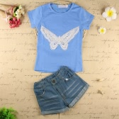Mode Baby Kinder Mädchen Zweiteiliges Set Schmetterling gestickt Kurzarm T-Shirt Denim Shorts Jeans Hose Outfits hellblau