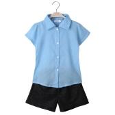 Moda bebé niños niñas manga corta gasa conjunto dos piezas camisa Casual pantalones cortos pantalones pantalones niños trajes azul claro