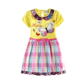 Nueva moda de las niñas vestido bordado mariposa falda a cuadros impresión Floral arco redondo cuello Puff manga lindo amarillo de una sola pieza