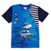 New Kids Baby Boy Koszulka List samochodów Wzór druku Kontrast wokół szyi krótki rękaw Stripe Maluch Dzieci Topy Niebieski