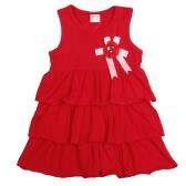 Nouvelles jolies filles enfants robe volants ourlet Fleur broche solide O-cou sans manches robe douce rouge