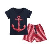 Neue Mode jungen zweiteiliges Set T-shirt Shorts Kontrast Muster gestreift Print Tunnelzug-Bund Freizeitkleidung Sets