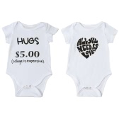 New Fashion Infant Baby Boy Girl Bodysuit Letter Print Rompers Jumpsuit Toddler Overalls Outfit One Piece White
