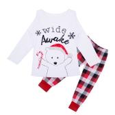 Navidad Familia Niños Niño Niñas Conjuntos de pijamas Carta de oso Impreso Manga larga Top Pantalones de cuadros Ropa de dormir Ropa de dormir Blanco