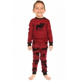 Świąteczny rodzinny zestaw piżamowy dla dzieci Chłopcy Dziewczęta reniferowe drukowane Bielizna nocna Bielizna nocna Z długim rękawem Top czerwone