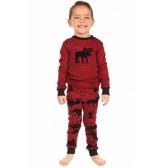 Conjunto de pijama familiar de Navidad Niños Niños Niñas Reno Estampado Ropa de dormir Pantalones largos de manga larga Pantalones rojos