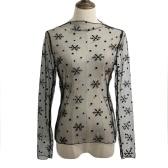 Nowe Seksowne Kobiety Sheer Mesh BODYCON Top Cienki Koronka Długie rękawy Pullover Elegancka bluzka Czarny