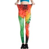 Women Slim Leggings Fire 3D Graffiti Letter Print Leggings Ankle-Length Elastic Leisure Pencil Pants