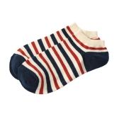 Moda Hombres Mujeres calcetines de contraste de la bandera de estrella de la raya fina y transpirable estiramiento del barco del calcetín zapatillas