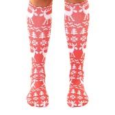 La nueva manera de las mujeres calcetines largos del copo de nieve de la sirena de los ciervos Santa Claus Imprimir Calcetines de Navidad