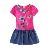 Nueva moda de las niñas vestido Denim falda bordado impresión Floral botones perlas redondo cuello manga corta rosa