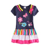 Fashion Cute Baby Kids Girl Dress Floral Embroidery Striped Splice Dot Print Short Sleeve Princess Mini Dress Dark Blue
