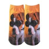 La nueva manera de las mujeres Calcetines linda del perro de impresión escotados transpirables elásticos Calcetines ocasional del tobillo