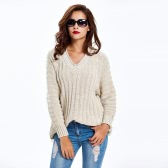 New Fashion Women Cable Knitted Sweater Solid Ribbed V Neck Raglan Sleeve Casual Jumper Pink/Khaki/Black