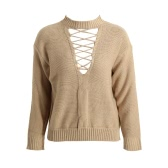 Mujeres de la manera ahueca hacia fuera la correa del suéter de la zambullida V Frente hombro caído de manga larga de punto Camisa corta