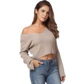Moda mujer tejidos suéter sexy de hombro recortada Top V cuello manguito de manga suelta jersey de color caqui / blanco