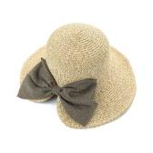 Paglia delle donne del nuovo di modo del cappello di Bowknot Grande Rolled Brim pieghevole dolce Vintage Sole Estate Beach Cap