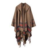 Nowi Dżinsy Z Kapturem Poncho Cape Hooded Stripe Oversized Sweter Sweter Szalik Szalik Kaszmir Pashmina