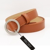 Abody Women Waist Belt Round O-Ring Buckle PU Leather Non-Prong Dress Belt Vintage Solid Color Khaki