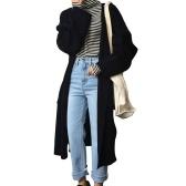 Женское негабаритное длинное кардиганское пальто