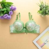 Donne sexy ragazze reggiseno stampa floreale in pizzo fiocco 3/4 tazze Push imbottito cinghie regolabili Underwire Lingerie biancheria intima rosa/verde/blu