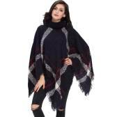 New Winter Women Knitted Poncho Cape Coat Stripe Tassel Turtleneck Warm Shawl Pullover Cloak Sweater