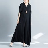 New Fashion Women Boho Maxi Dress V Neck Batwing sem mangas Summer Plus Size Swing Dress