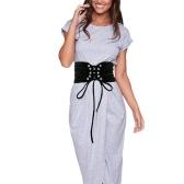 Mujeres de la vendimia de la nueva manera de cinturón con cordones gancho de la correa de cintura de la pretina Blanco / Negro