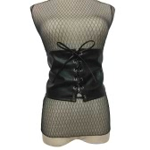 Vintage Women Corset De Couro Lace Up Bandage Cintura Cinto Strap Shape-Making Midriff-Cinchers Wide Waistband Black