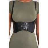 Moda mujer hombres corsé cinturón PU cintura larga cintura Vintage unisex cintura correa negro